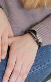 Браслет - намотка Белое перо кожа черная 17р