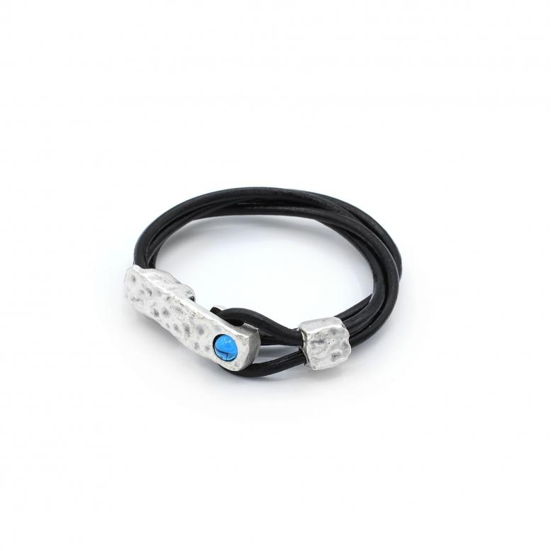 Браслет-намотка Цефеида аквамарин 17р (кожа 3мм)