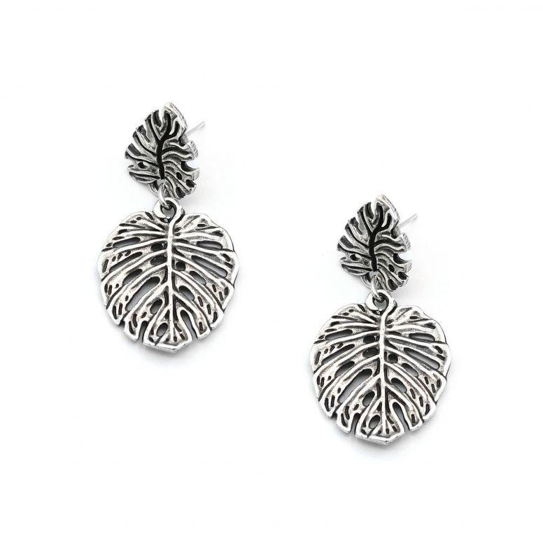 Серьги-пусеты Тропики серебро