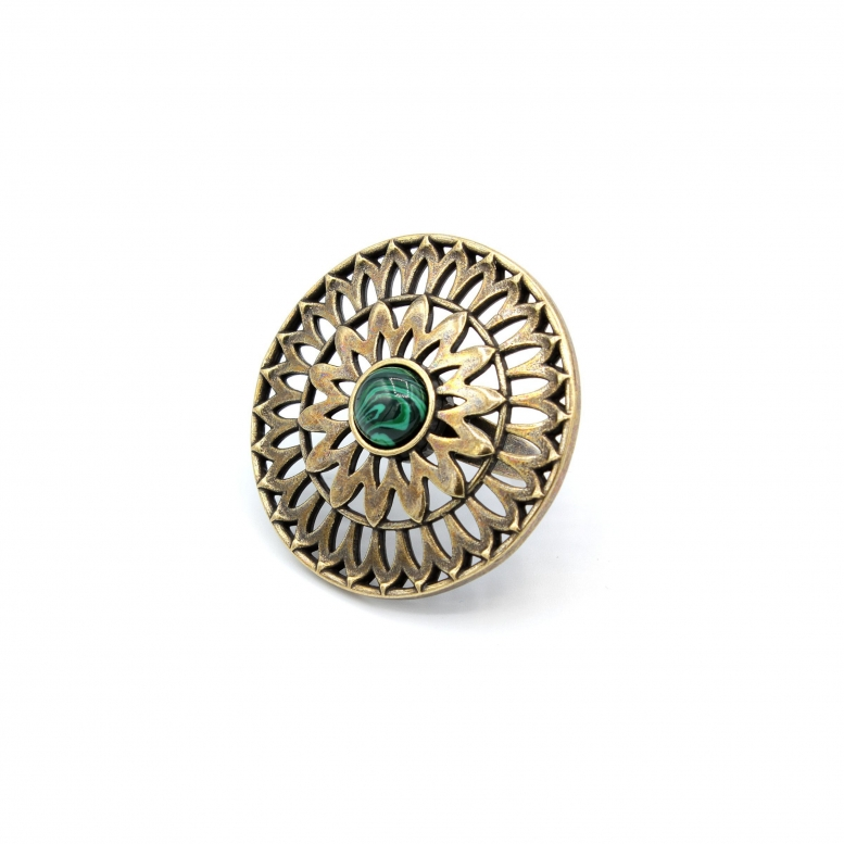 Кольцо Солнцеколо бронза малахит