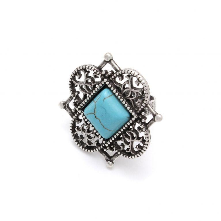 Кольцо Никея серебро (бирюза)