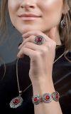Кольцо Безанта серебро (рубин)