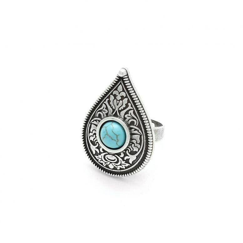 Кольцо Крина бирюза серебро (круг)