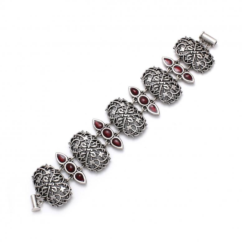 Браслет Вертоград серебро (эмаль рубин)