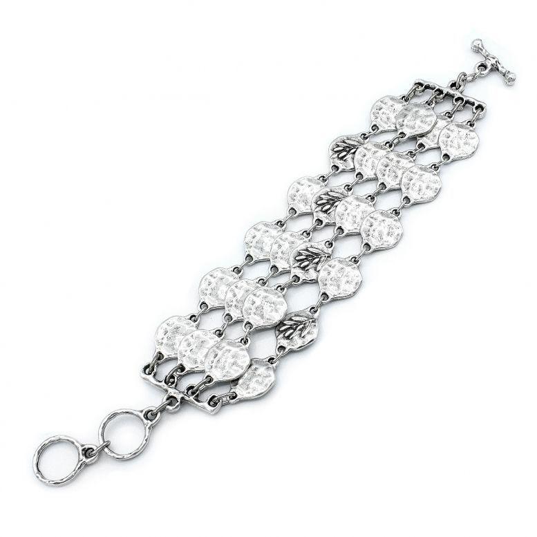 Браслет Олива 4 рядов серебро