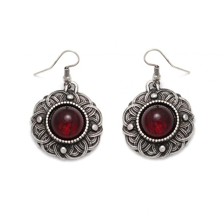 Серьги Безанта серебро (рубин)
