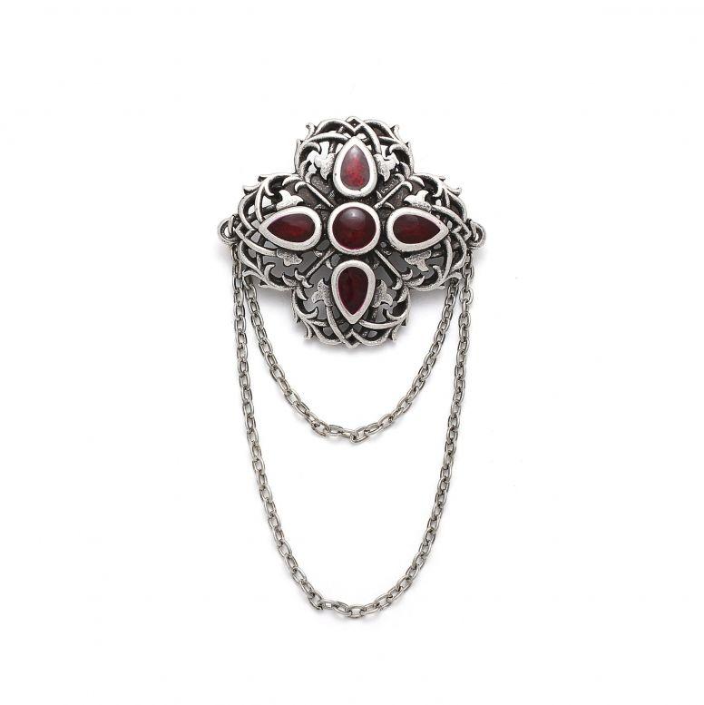 Брошь Вертоград серебро (эмаль рубин)