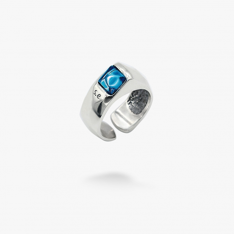 Кольцо Мерцание звезд dark aquamarine 925