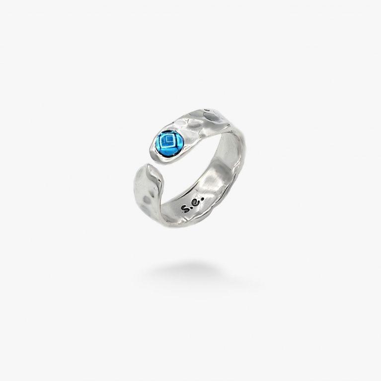 Кольцо Цефеида dark aquamarine 4мм 925