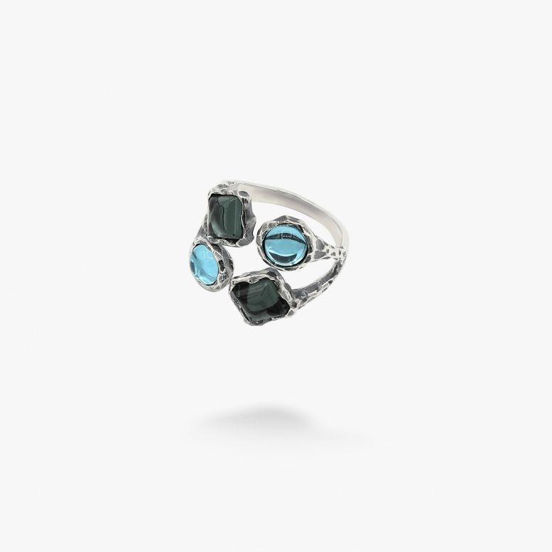 Кольцо Лириды mix indicolite 925