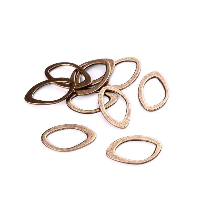 Коннектор Овал неправильной формы, 10 шт (бронза)