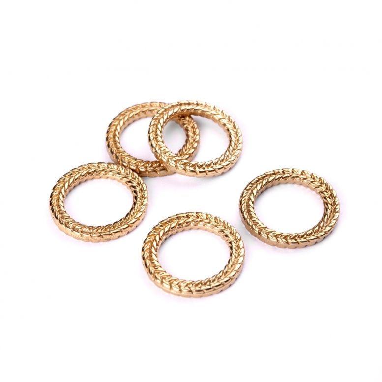 Коннектор Кольцо Колосок, 28 мм, 5 шт (золото)