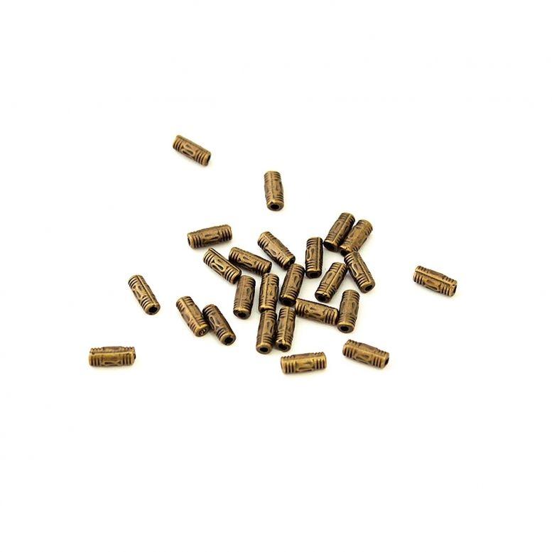 Бусина пластиковая  прямоугольная с орнаментом (бронза) 25шт