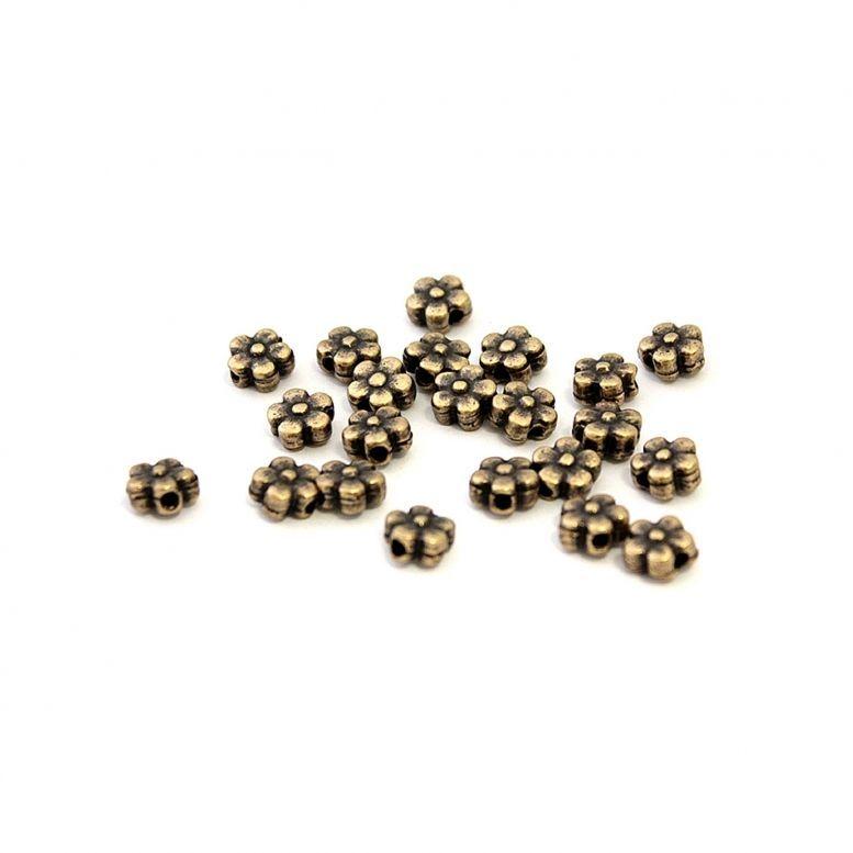 Бусина металлическая Незабудка, 8 * 8 мм (бронза), 50 шт