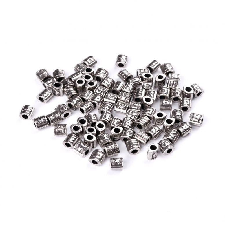 Бусины-буквы Русский алфавит 31 буква (А-Я), серебро