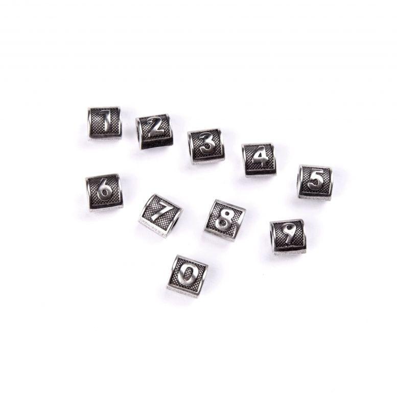 Бусины-буквы Цифры 0-9, серебро