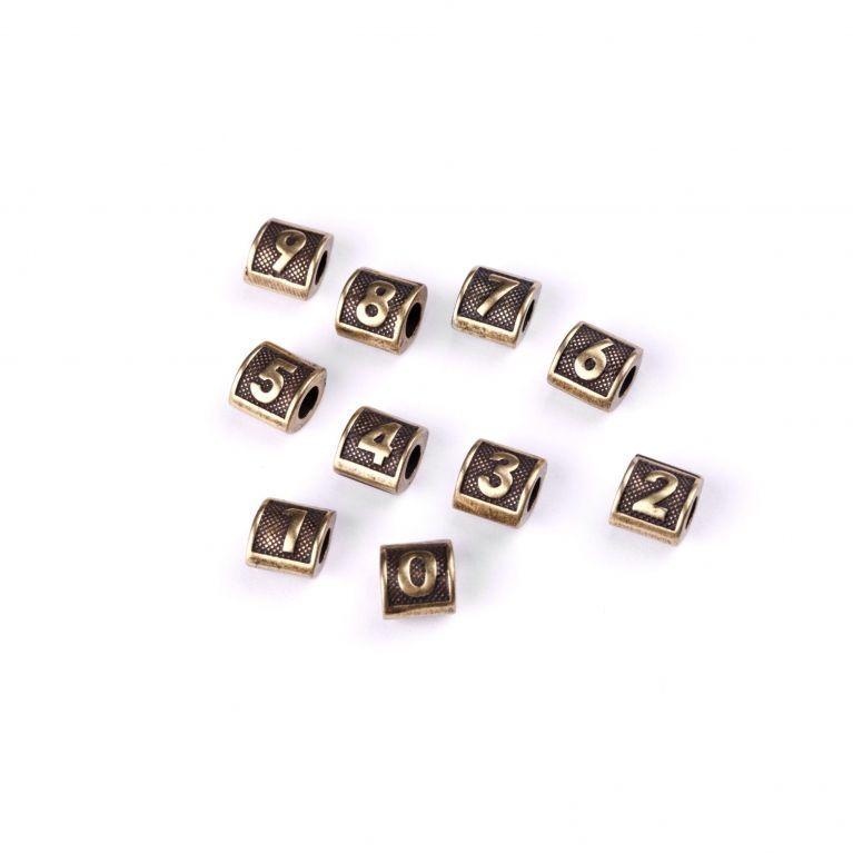 Бусины-буквы Цифры 0-9, бронза