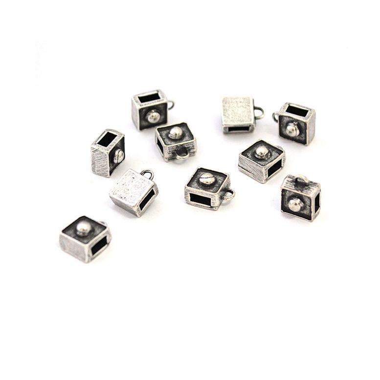Бейл Кубик 8*8 мм, 10 шт (серебро)
